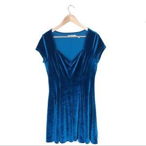 UO Kimchi Blue velvet blue babydoll Dress Large